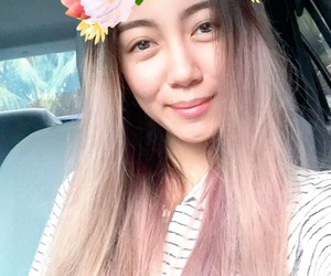 asian, floral, and pinkhair image