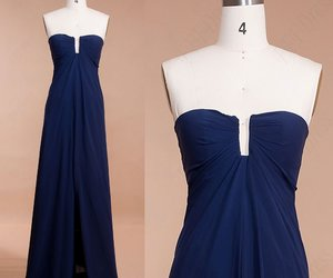 evening dresses, navy blue, and pageant image