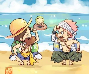 one piece, fairy tail, and luffy image