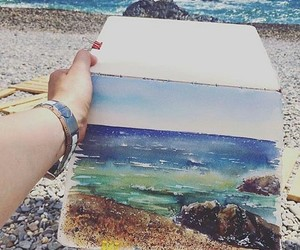 blue green, watercolor, and nature painting image