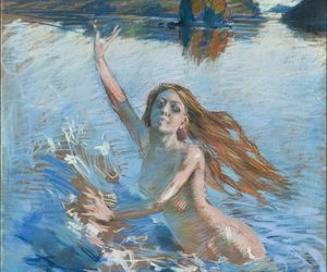 elf, swimming, and akseli gallen-kallela image