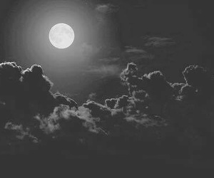 clouds, moon, and black and white image