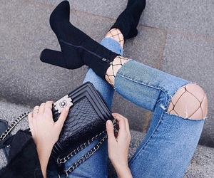 boots, chanel, and jeans image