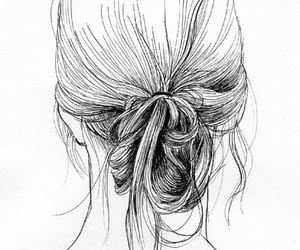 hair, black and white, and drawing image