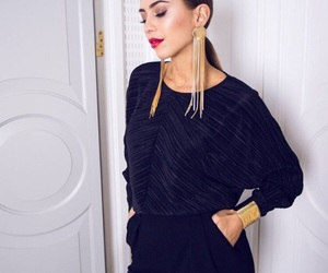 chic, earrings, and all black image