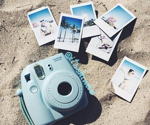 beach, summer, and polaroid image