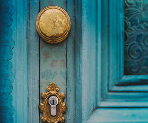 door, blue, and gold image