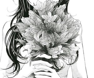 flowers, anime, and black and white image