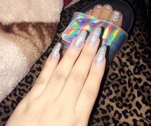 girly, glitter, and toe nails image