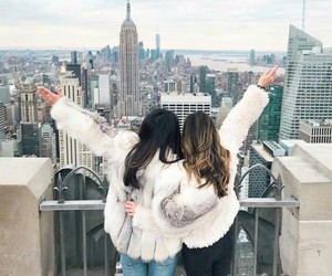best friends, fashion, and travel image