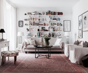 interior, book, and bookshelf image