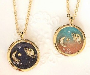 moon, necklace, and stars image