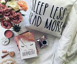 book, bed, and flowers image