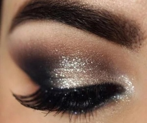makeup, eye, and glitter image