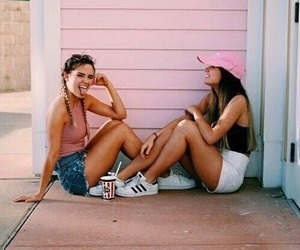 girls, summer, and laugh image