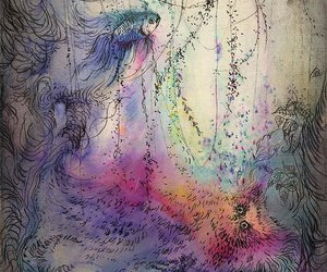 dreamy, illustration, and etching image