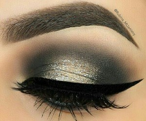 eyebrows, makeup, and smokey eyes image