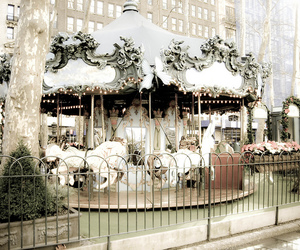 bryant park, carousel, and christmas image