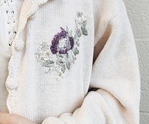 cardigan, flowers, and purple image