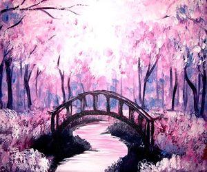 art, pink, and bridge image