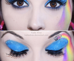 nyan cat, eyes, and makeup image