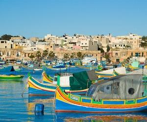 boats, colours, and malta image