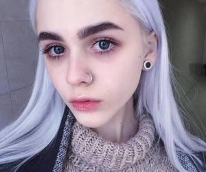 blue eyes, long hair, and makeup image