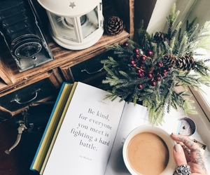 coffee, book, and words image