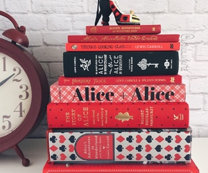 book, red, and alice in wonderland image