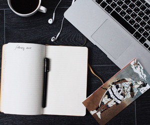 macbook, moleskin, and study image