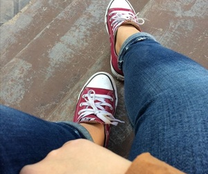 brown, converse, and jeans image