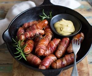 bacon, mustard, and sausage image
