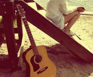 music guitar beach girl image