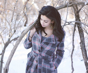 checkered, coat, and girl image