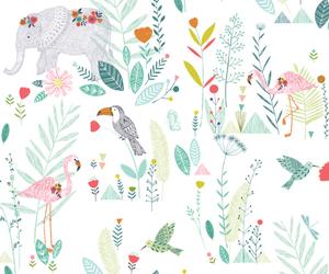 background, flamingo, and elephant image