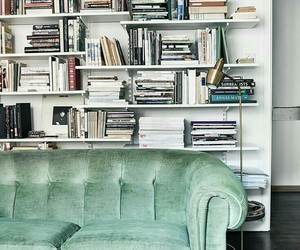 books, home, and sofa image
