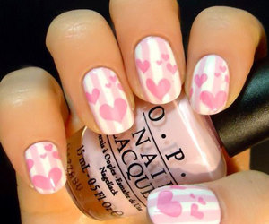 romantic nails, valentine's nails, and love heart nails image