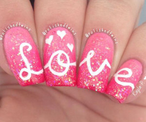 valentine's nails, love heart nails, and easy valentine's nails image