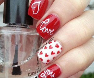 romantic nails, love heart nails, and easy valentine's nails image