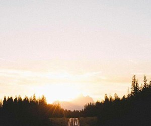 travel, road, and sunset image