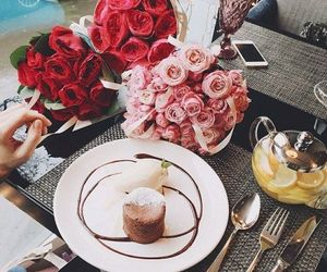 flowers, breakfast, and food image