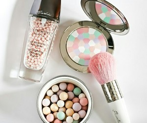 brush, cosmetics, and pink image
