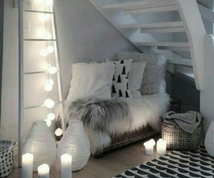bedroom, candle, and home image