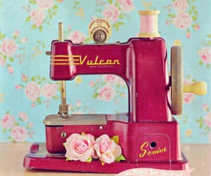 blue, floral, and sewing machine image