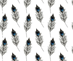 black, feather, and pattern image