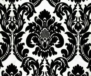 black, damask, and wall art image