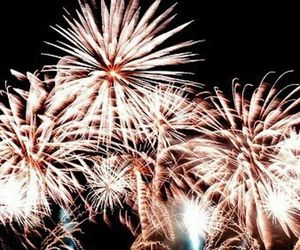 aesthetic, rose gold, and fireworks image