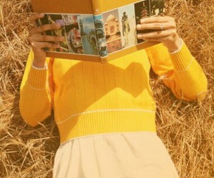 book, gril, and yellow image