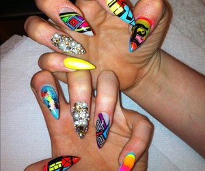 fashion, stiletto nails, and funky nail art image