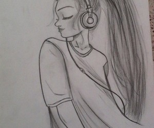 draw, music, and girl image